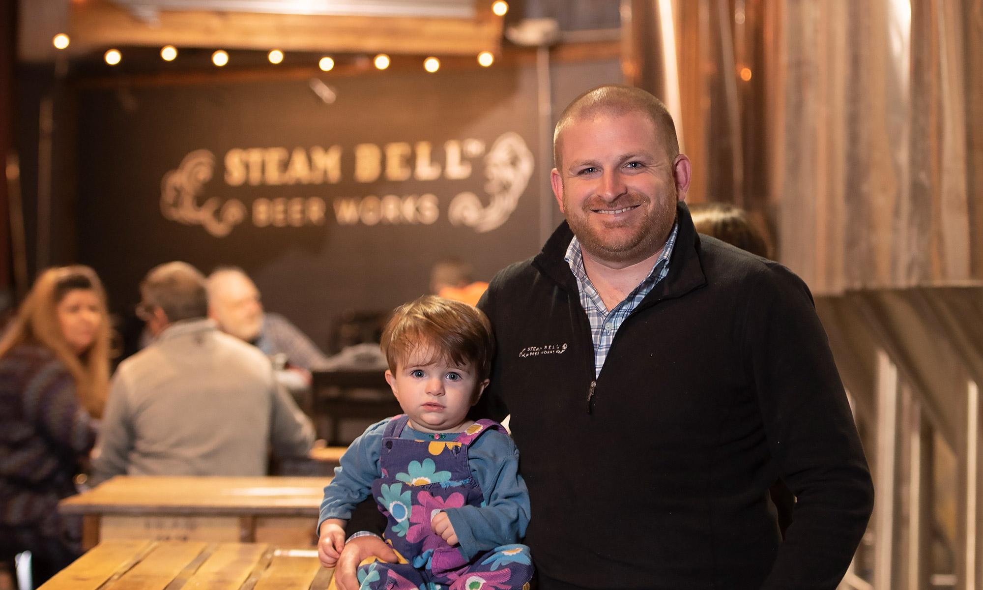 Brad Cooper with daughter Caroline - Steam Bell Beer Works
